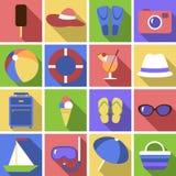 Sistema del icono Objetos planos del viaje Fotografía de archivo