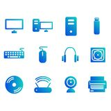 Sistema del icono del ordenador con el icono simple ilustración del vector