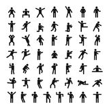 Sistema del icono del palillo de la gente del hombre, estilo simple stock de ilustración