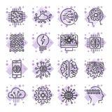 Sistema del icono para símbolos del concepto del ai de la inteligencia artificial los diversos para el tema usando diseño plano M Fotos de archivo libres de regalías