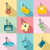 Sistema del icono del phishing, estilo plano stock de ilustración