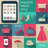 Sistema del icono plano de la moda del diseño Fotografía de archivo