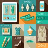 Sistema del icono plano de la moda del diseño Fotografía de archivo libre de regalías