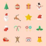 Sistema del icono plano de la Navidad Imágenes de archivo libres de regalías