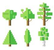 Sistema del icono plano del árbol stock de ilustración