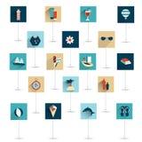 Sistema del icono plano del verano stock de ilustración