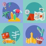 Sistema del icono plano del verano Foto de archivo libre de regalías