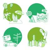 Sistema del icono plano del verano Imágenes de archivo libres de regalías