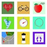 Sistema del icono plano en el tema de la aptitud y de la forma de vida sana ilustración del vector