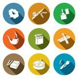 Sistema del icono que fuma Imágenes de archivo libres de regalías
