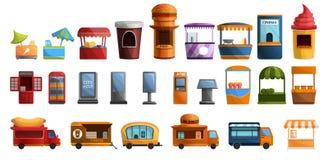 Sistema del icono del quiosco de la calle, estilo de la historieta ilustración del vector