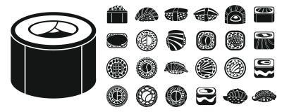 Sistema del icono del rollo de sushi de la soja, estilo simple stock de ilustración