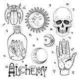 Sistema del icono del símbolo de la alquimia Espiritualidad, ocultismo, química, mag stock de ilustración