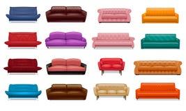 Sistema del icono del sofá, estilo realista ilustración del vector