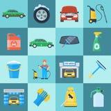 Sistema del icono del túnel de lavado Imagen de archivo libre de regalías