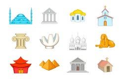 Sistema del icono del templo, estilo de la historieta stock de ilustración