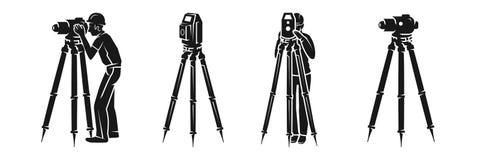 Sistema del icono del topógrafo, estilo simple libre illustration