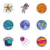Sistema del icono del universo del espacio, estilo exhausto de la mano ilustración del vector