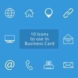 Sistema del icono a utilizar en tarjeta de los busienss Imágenes de archivo libres de regalías