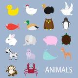 Sistema del icono del vector de los animales Imagenes de archivo