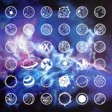 Sistema del icono del vector de los planetas ilustración del vector