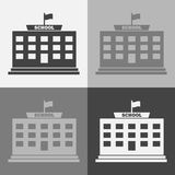 Sistema del icono del vector de una construcción de escuelas en un fondo gris ilustración del vector