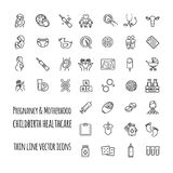 Sistema del icono del vector del embarazo, de la fertilización y de la maternidad Ginecología, línea fina iconos de la atención s Imagen de archivo libre de regalías