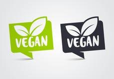 Sistema del icono del vegano del ejemplo del vector Hoja verde bio y ecología, Logo Label Tag orgánico stock de ilustración