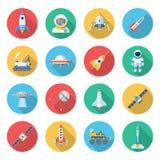 Sistema del icono del vehículo espacial stock de ilustración