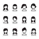 Sistema del iIllustration del símbolo del vector de los iconos del estilo de pelo de la mujer Imagen de archivo libre de regalías