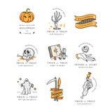 Sistema del illustartion del vector de los iconos lineares para el feliz Halloween Insignias y etiquetas para el partido y justo  ilustración del vector