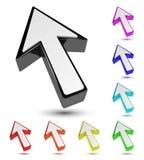 Sistema del indicador multicolor del cursor de la flecha 3d Imagenes de archivo