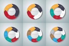 Sistema del infographics de las flechas del círculo del vector Plantilla para el diagrama, gra Imagen de archivo