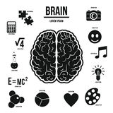 Sistema del infographics del cerebro humano, estilo simple Imagen de archivo libre de regalías