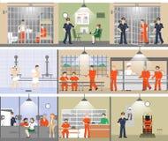Sistema del interior de la cárcel ilustración del vector