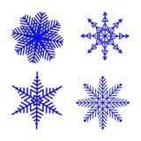 Sistema del invierno del copo de nieve de azul aislado cuatro iconos de la silueta en el fondo blanco para el diseño de la Navida ilustración del vector