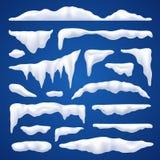 Sistema del invierno de los cabos y de las pilas de la nieve stock de ilustración