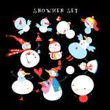 Sistema del invierno del ` s del Año Nuevo del vector de diversos muñecos de nieve Imágenes de archivo libres de regalías