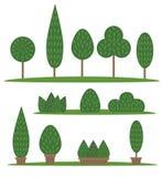 Sistema del jardín y del parque Árboles y arbustos de la historieta Fotografía de archivo