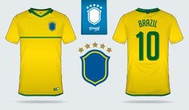 Sistema del jersey de fútbol o diseño de la plantilla del equipo del fútbol para el equipo de fútbol del nacional del Brasil Imagenes de archivo
