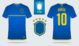 Sistema del jersey de fútbol o diseño de la plantilla del equipo del fútbol para el equipo de fútbol del nacional del Brasil Fotos de archivo libres de regalías