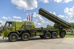 Sistema del jet de fuego del voleo en el camión Rusia Foto de archivo libre de regalías