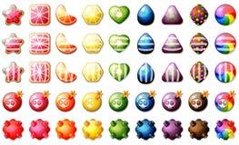 Sistema del juego del rompecabezas del partido tres de los caramelos de la fruta Imagen de archivo