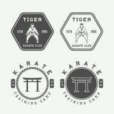 Sistema del karate o del logotipo de los artes marciales, emblema, insignia, etiqueta del vintage Imagen de archivo