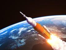 Sistema del lancio dello spazio sopra la terra Immagine Stock Libera da Diritti
