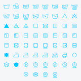 Sistema del lavadero, símbolos que se lavan del icono aislado en el fondo blanco Imagenes de archivo