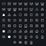 Sistema del lavadero, símbolos que se lavan del icono aislado en el fondo blanco Imágenes de archivo libres de regalías