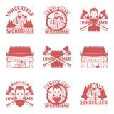 Sistema del leñador de emblemas, de etiquetas, de insignias y de logotipos del vintage del vector en estilo monocromático en el f Fotografía de archivo libre de regalías