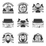Sistema del leñador de emblemas, de etiquetas, de insignias y de logotipos del vintage del vector en estilo monocromático en el f Fotos de archivo
