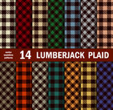 Sistema del leñador Plaids Seamless Patterns en 14 colores Fotografía de archivo libre de regalías